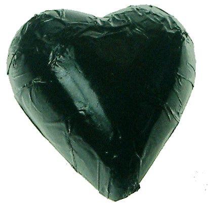 A bag of 100 Black Foil Chocolate Hearts.