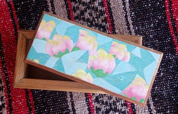 Cedar and Oak Keepsake Box  Abstract Flowers by theLambandtheBear