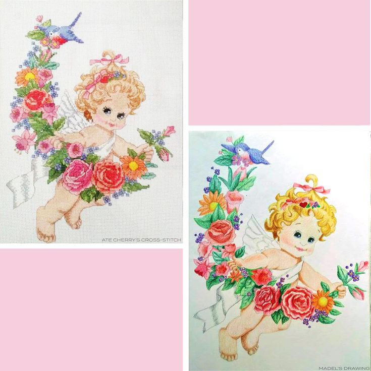 A talented cousin of mine from Manila did a beautiful and colourful cross-hatch stitch of an angel on a stiff board. I admired her patience to do such a time consuming task. I decided to reproduce the exact same image, but instead I used coloured pencils. (The picture on the top left is the cross-hatch made by my cousin, and the bottom left is the drawing I reproduced)