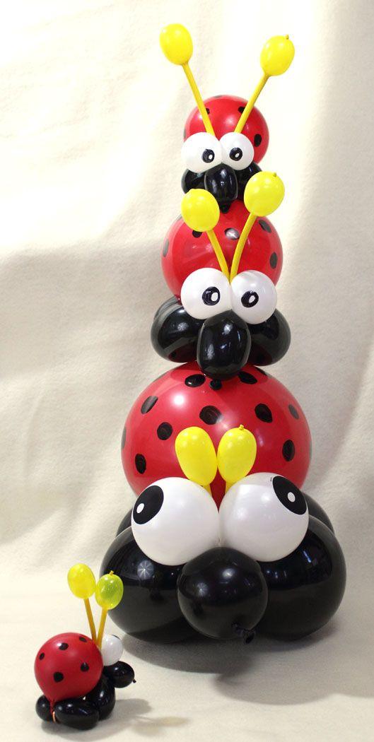 Centros de mesa: mariquitas con globos - Ladybug balloon: centerpieces