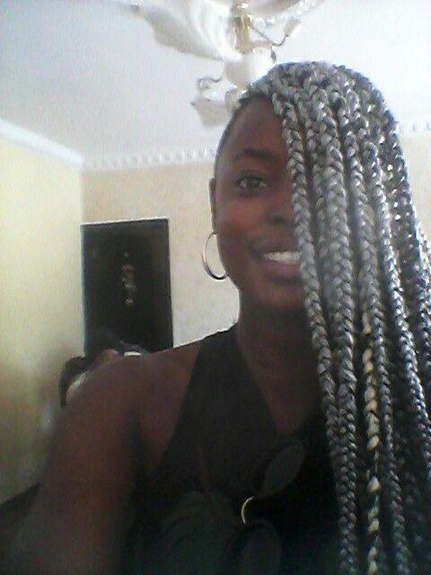 Grey black box braids