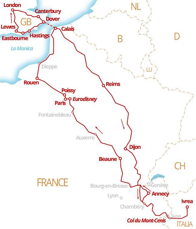 3200 km - Savoia, PARIGI, Normandia, Sussex, LONDRA, Champagne e Borgogna