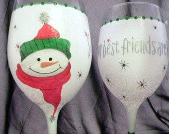 Blue Christmas Wine Glass Blue Wine Glass/Hand Painted Wine