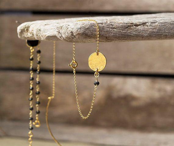Disc Bracelet Gold Coin Bracelet Hammered Disc Bracelet Gold Bracelet Dainty…