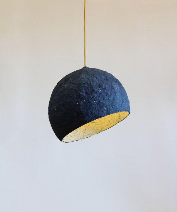 Lampe de papier mâché Pluto, lampe, luminaire suspendu, lumière pendante, bleu, lampe suspendue, lampe de papier,abat jour, industrielle