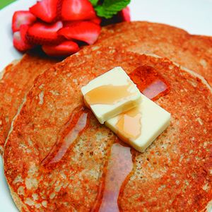 Four-Grain Yogurt Pancakes: A great, healthy start to the day. These Four-Grain Yogurt Pancakes are made with fat-free plain yogurt and milk.  The kids will love to help mix the batter.