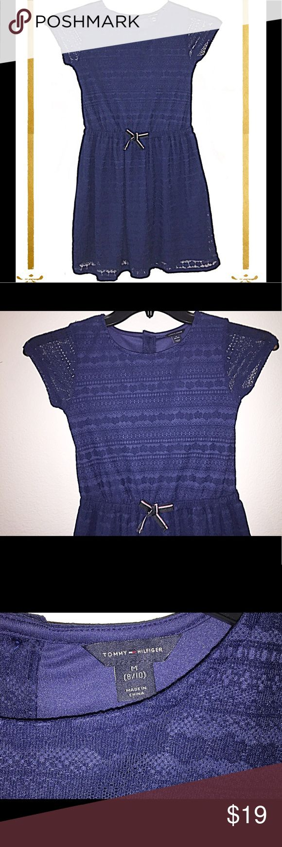 Tommy Hilfiger Girl's Dress Size 8-10 in Navy EUC This Tommy Hilfiger Girl's Dress in navy is size 8-10.  Perfect casual dress with touches of elegance such as the lace-type overlay and mini bow in front.  EUC. Tommy Hilfiger Dresses Casual