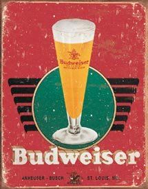 $8.99 Budweiser Beer Glass and Logo Distressed Retro Vintage Tin Sign  From Poster Revolution   Get it here: http://astore.amazon.com/ffiilliipp-20/detail/B00149XBP2/185-6339292-8974116
