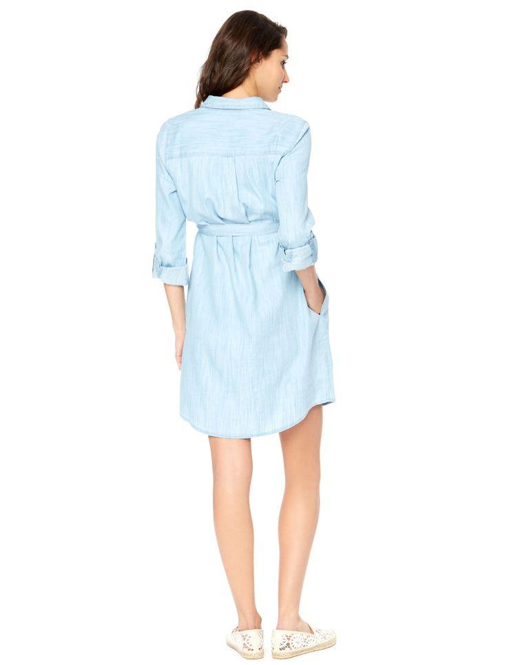 Motherhood Maternity Convertible Sleeve Belted Maternity Shirt Dress