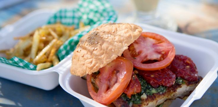 #recipe Parmesan Crusted Mediterranean Chicken #Burger with Fries by The Fire Feeders