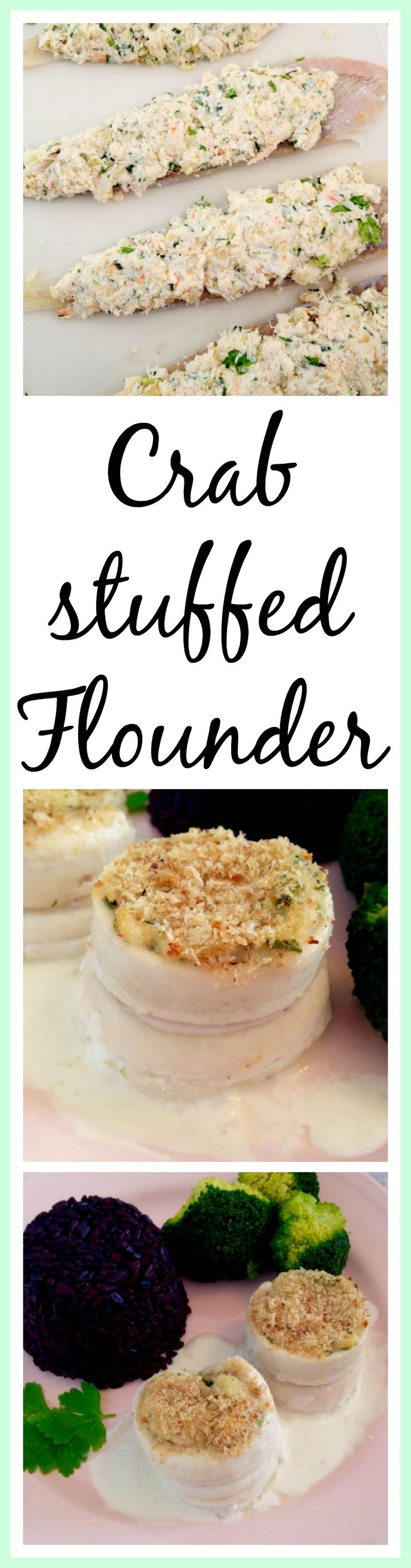 Crab stuffed Flounder. This easy recipe is a real show stopper. A mixture of crab, cheese and herbs is rolled into flounder fillets and baked. So delicious your guests will beg for more. thecookingspoon.org
