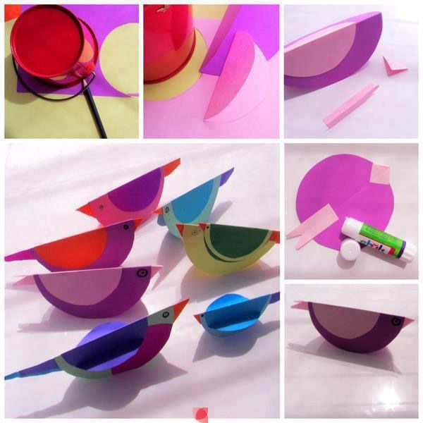paper birds, easy craft for kids, easy ornament