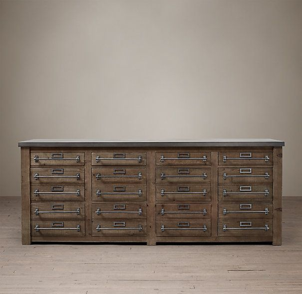 Early 20th C Zinc Top Mercantile Sideboard From