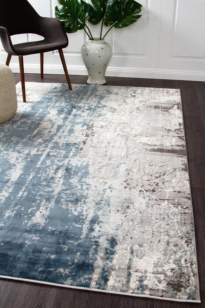 Dense 10mm Pile Style Transitional Weave Power Loomed Material Polypropylene Polyester Blue Rugs Living Room Rugs In Living Room Grey And White Rug