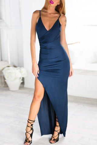 Trendy Spaghetti Strap Backless Solid Color Slit Maxi Dress For Women Maxi Dresses | RoseGal.com Mobile