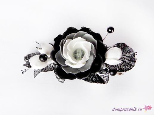 Подарок своими руками из полимерной глины: Заколка «Зимние цветы»