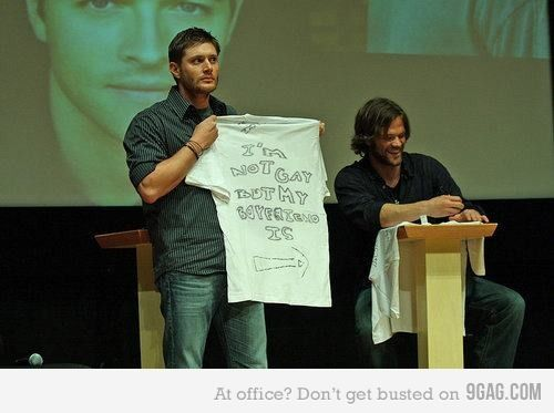 Jensen Ackles and Jared Padalecki, lol, i guess they made shirts, not quite sure what is going on.