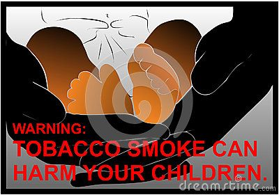 Vector anti-smoking warnings with baby feet, hands and red text.