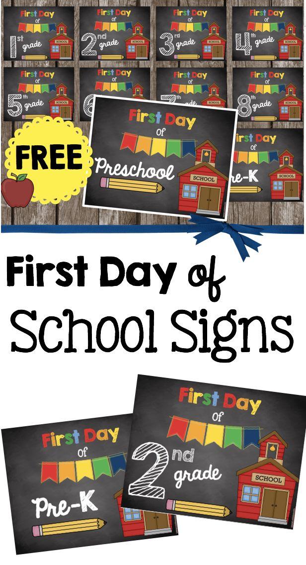 FREE first day of school signs in adorable chalkboard theme! Preschool - PreK - Kindergarten through 8th grade - perfect photo prop!