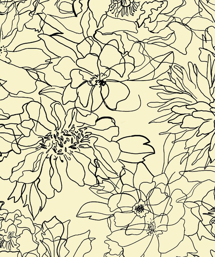 Floral Sketch textile pattern by Rebecca Klementovich