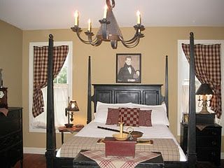 Our walls are slightly darker in color, I like the black headboard and the checkered curtains to go with my quilts