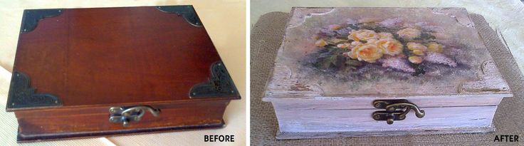 Decoupage on an old wooden box