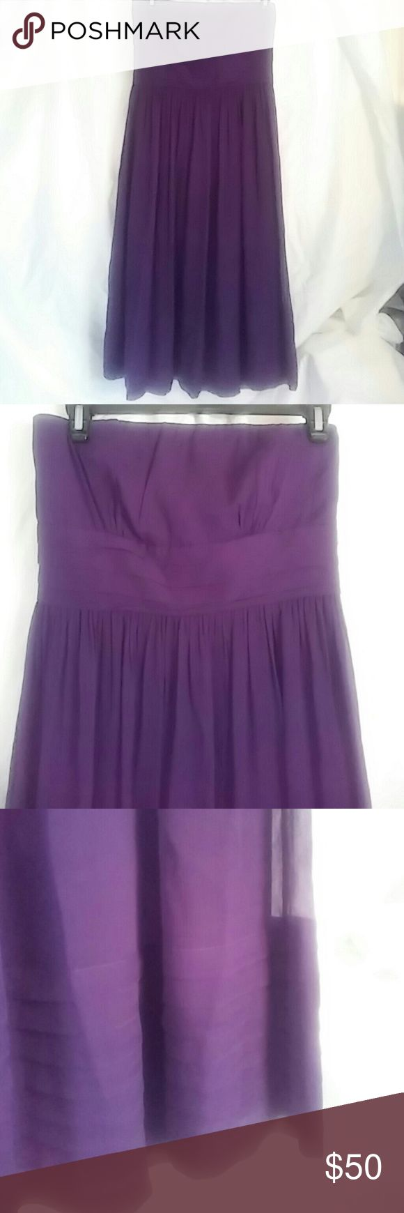 J. Crew 100% silk strapless purple party dress Wear it on girl's night out, wedding, beach, parties, or wherever you want to draw attention. Gorgous quality strapless dress. NWOT J. Crew Dresses Midi