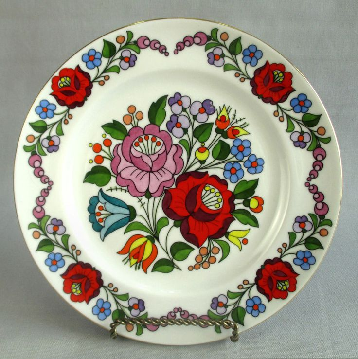 Hungary Folk Art Flower Plate Vintage Tradtional Hand Painted Kalocsa Number 346