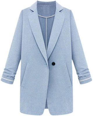 Long-sleeves Solid-color Md-long Blazer