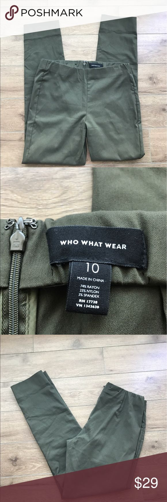 Who what wear Military green pants skinny Who what wear Military green pants skinny. Super stylish and comfy. Excellent condition. From non-smoking, non-pet home.  💋Add to bundle to save on shipping costs! Don't forget to add any two things in my closet and receive an extra 10% off! no trades. who what wear Pants Skinny