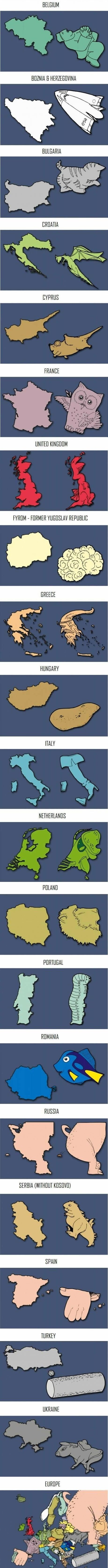 European Countries - Maybe an interesting way to help my students in Global Studies recognize the countries?