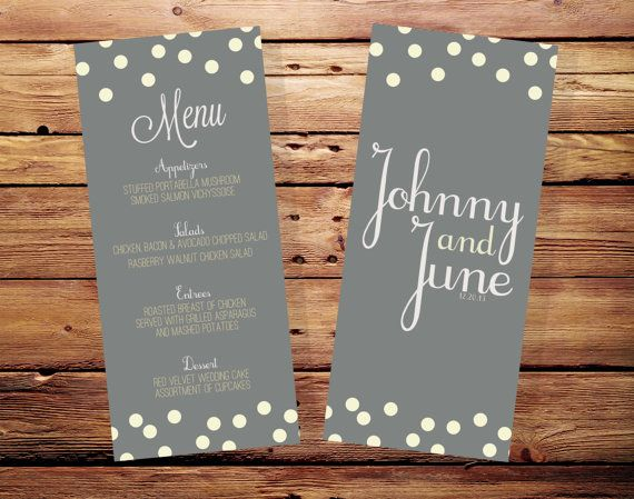 Printable Polka Dot Wedding Menu Card with by ThePaperHeartsCo, $20.00