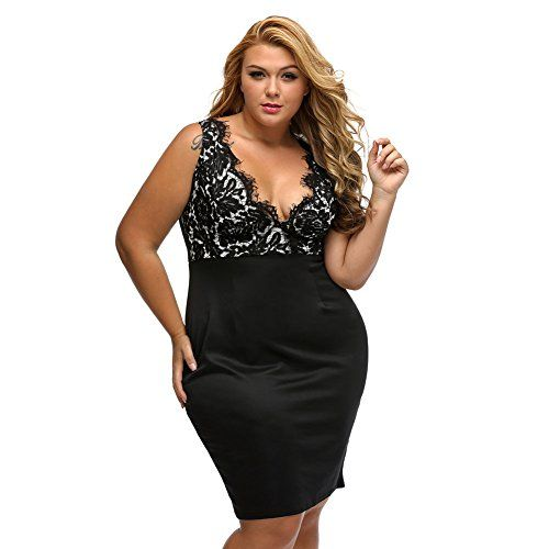 RwalkinZ Women's Lace Crochet Sleeveless Deep V-Neck Plus Size Sexy Black Dress