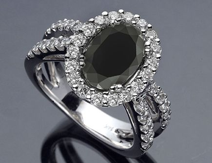 3.35 CT Oval Cut Certified Custom Black Diamond Engagement Ring 18k White Gold - Solitare w Diamond
