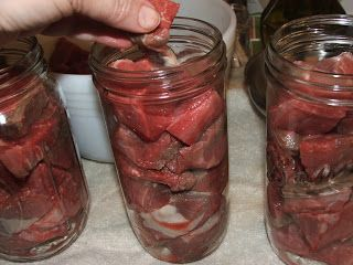 Canning Beef in Broth - This method can also be used for canning Venison, Moose, Elk, Antelope, etc. Shelf life is 2-5 years