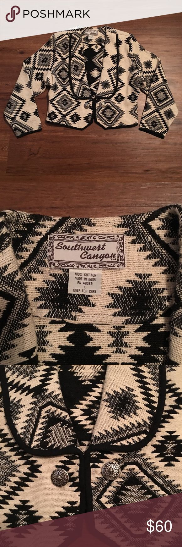 Vintage Southwest Canyon Jacket Size Large  100% Cotton   RN# 48369  A couple stray strands but still looks amazing and great quality! Southwest Canyon Jackets & Coats Blazers