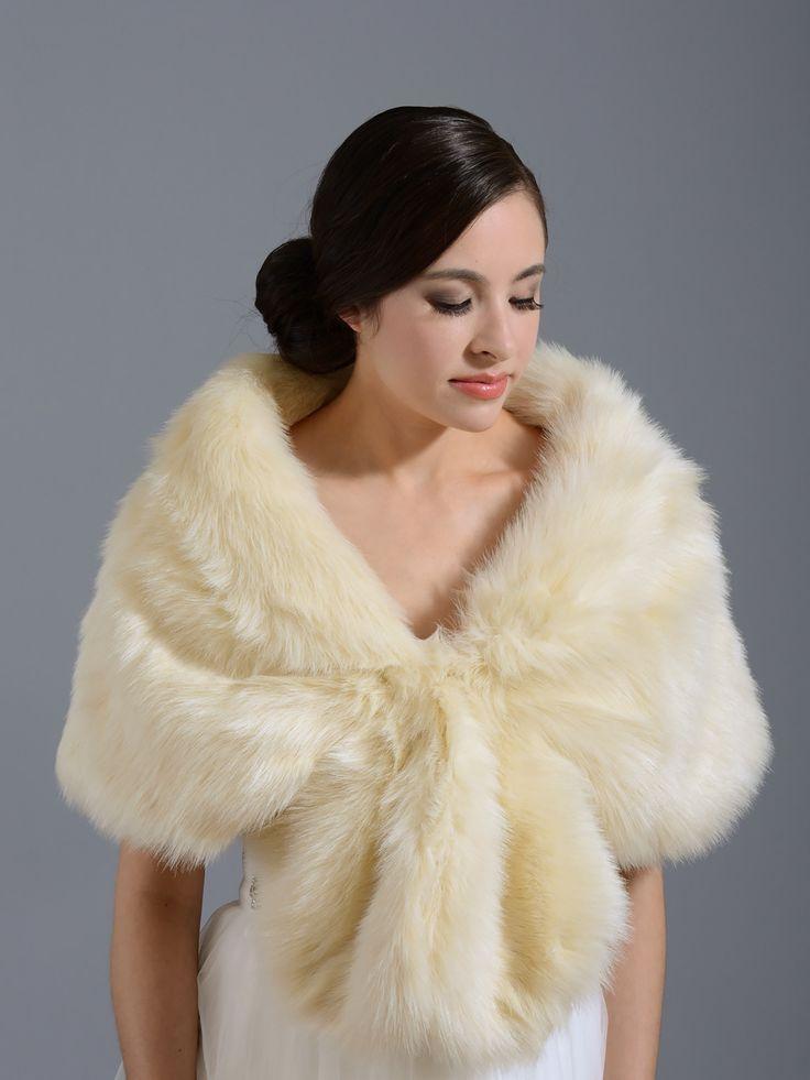 Champagne faux fur wrap stole A001_Champagne