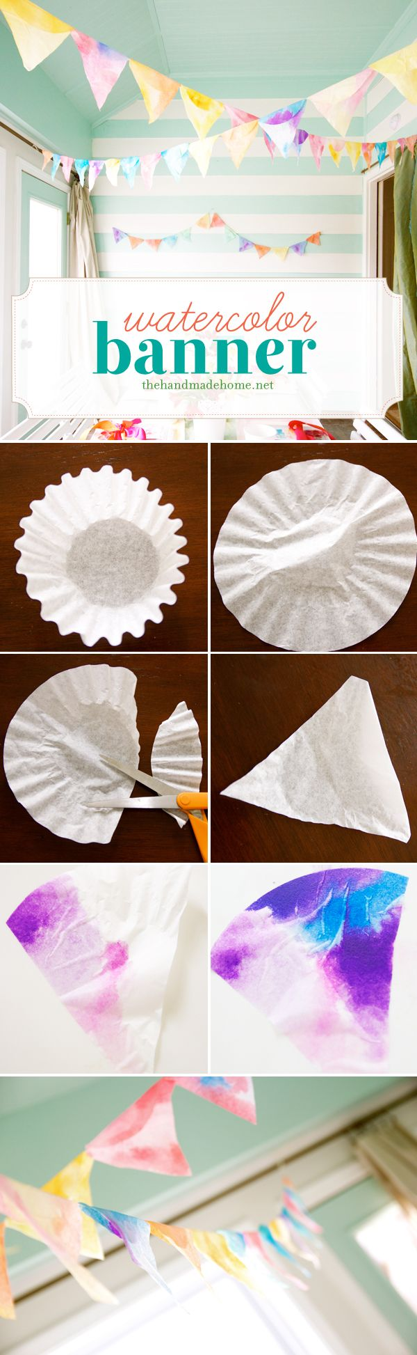 Make a beautiful watercolor banner by painting coffee filters and cutting them into triangles. LOVE this! What a great idea for kids!