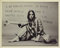 Photograph of Michelle Phillips commemorating their eight-day marriage in 1970.  Here's to 8 day marriages!
