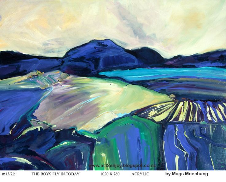 Acrylic on canvas. Mags reflects the landscape of the South Island of New Zealand with personal touches and references.