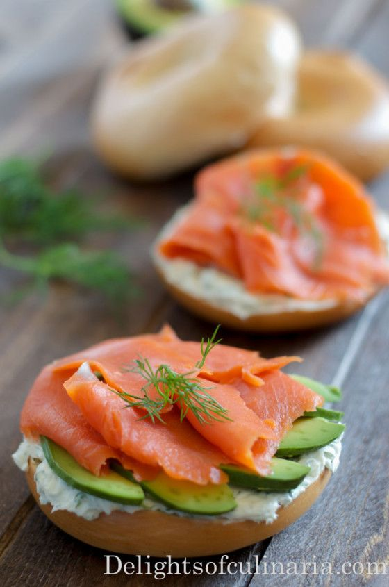 open face bagel sandwich with smoked salmon