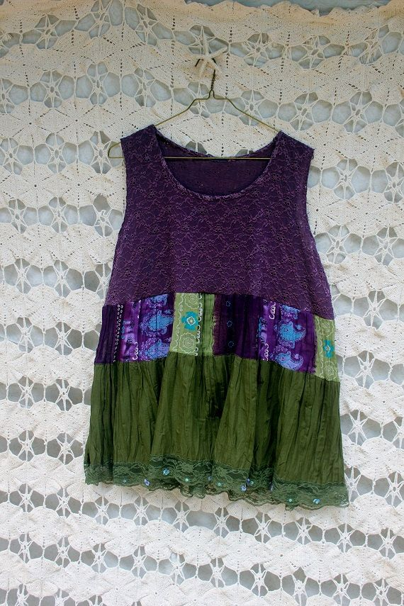 REVIVAL Upcycled Boho Shirt/Tank Top Plus Size 2X3X by REVIVAL, $37.99