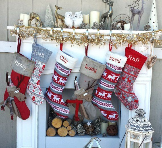 Reindeer Fun Reindeer Knit Christmas Stockings Red White Etsy Christmas Stockings Knitted Christmas Stockings Christmas Knitting