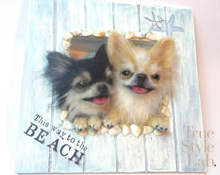 Chihuahuas in the beach style frame / チワワちゃん海を感じるフレームアレンジ (半デフォルメタイプ)…