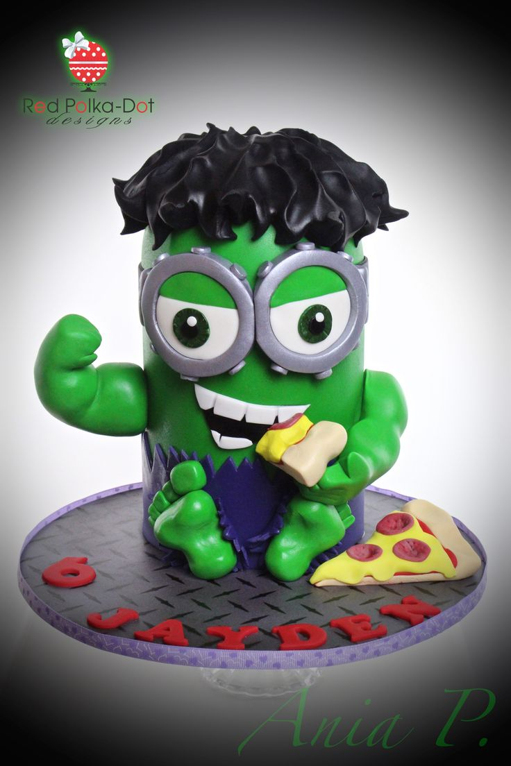 Hulk Minion cake, by Red Polka-Dot Designs