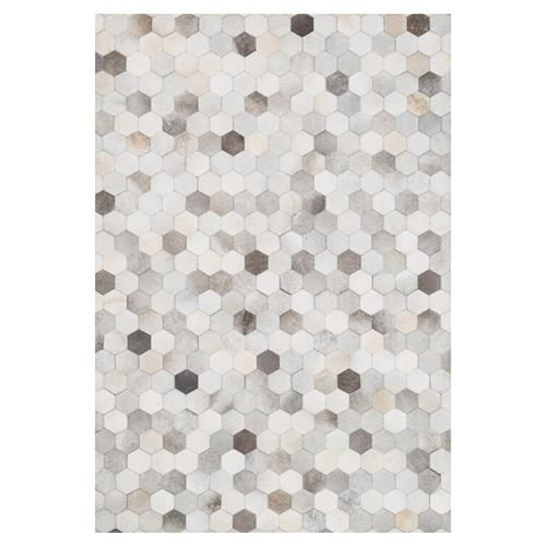 Ritu Rustic Modern Hexagon Grey Ivory Cowhide Rug 7 6x9