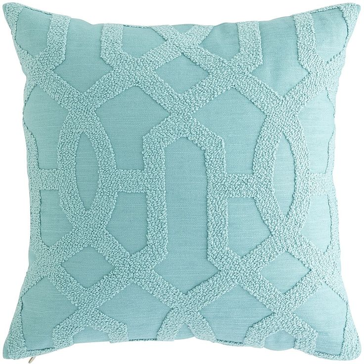 Teal Trellis Embroidered Pillow