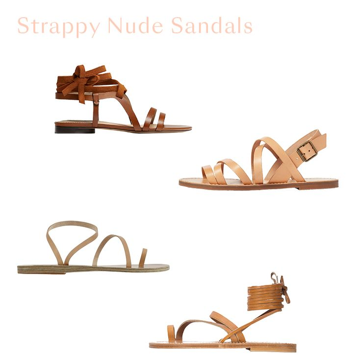 Strappy Nude Sandals - In warm weather, a nude sandal is essential. We're for strappy styles that are simple, but slightly more eye-catching and elevated than a flip-flop. Choose from lace-up styles to barely-there straps and wear with everything like jeans and a fun top, beach attire, or even as a minimal finish to wedding-guest attire.