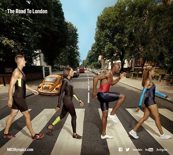 U.S. Olympic Hopefuls Pay Tribute to the Beatles' 'Abbey Road'  Trey Hardee, Allyson Felix, LaShawn Merritt, and Sanya Richard-Ross cross everyone's favorite street