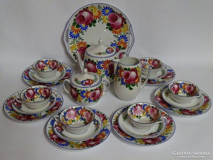 Antik! 1920-ból! Kézzel festett teás/kávés/sütis porcelán